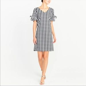 Jcrew gingham tie sleeve shift dress